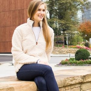 Southern Shirt M Sherpa Ivory Quarter Zip Pullover